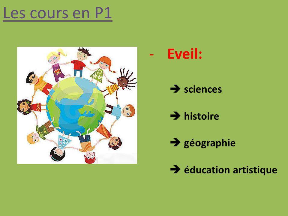 Les cours en P1 -Eveil: sciences histoire géographie éducation artistique