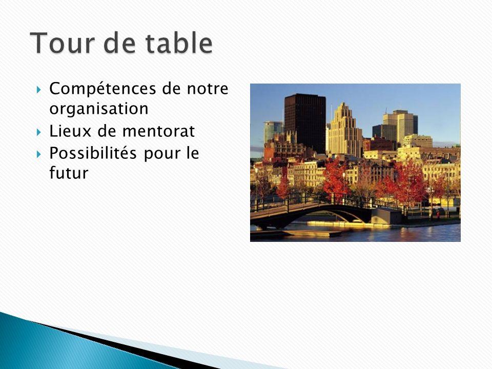 Compétences de notre organisation Lieux de mentorat Possibilités pour le futur