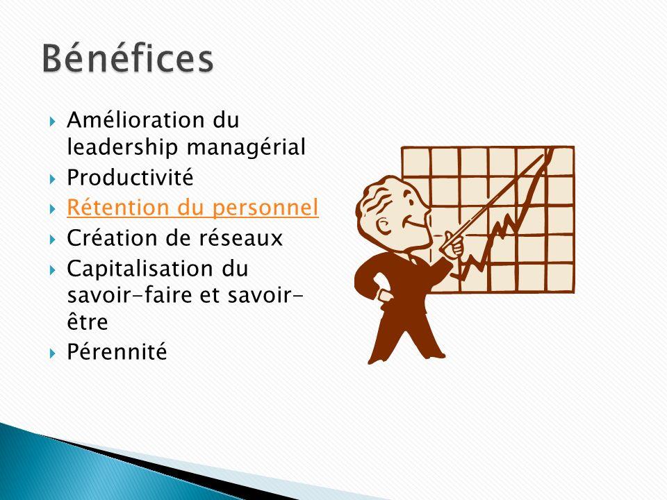 Amélioration du leadership managérial Productivité Rétention du personnel Création de réseaux Capitalisation du savoir-faire et savoir- être Pérennité