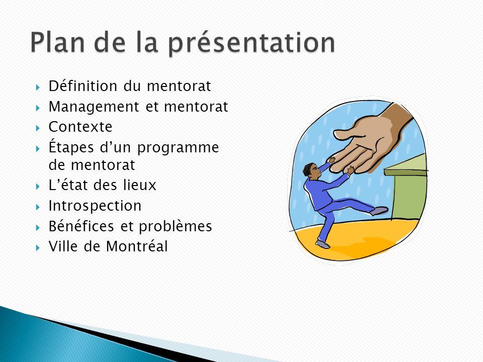 Définition du mentorat Management et mentorat Contexte Étapes dun programme de mentorat Létat des lieux Introspection Bénéfices et problèmes Ville de