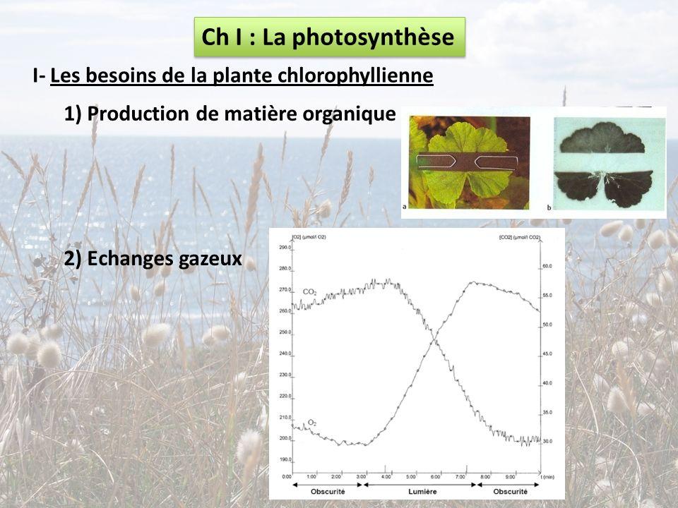 Ch I : La photosynthèse I- Les besoins de la plante chlorophyllienne 1) Production de matière organique 2) Echanges gazeux