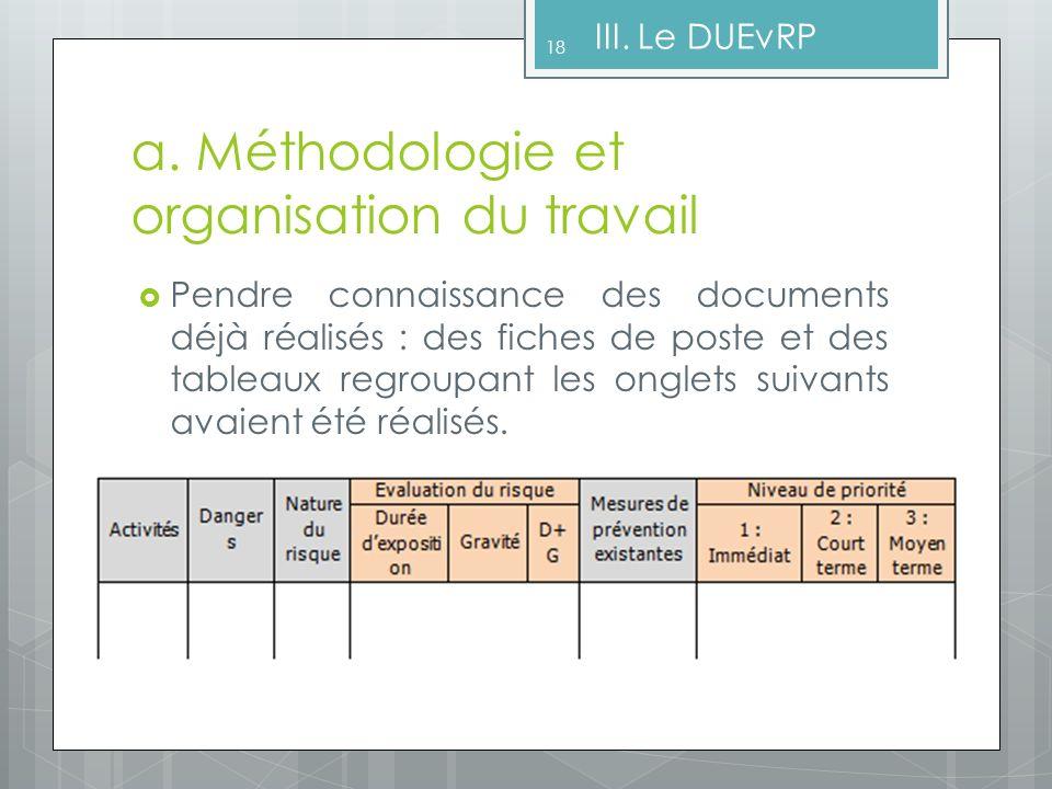 a. Méthodologie et organisation du travail Pendre connaissance des documents déjà réalisés : des fiches de poste et des tableaux regroupant les onglet