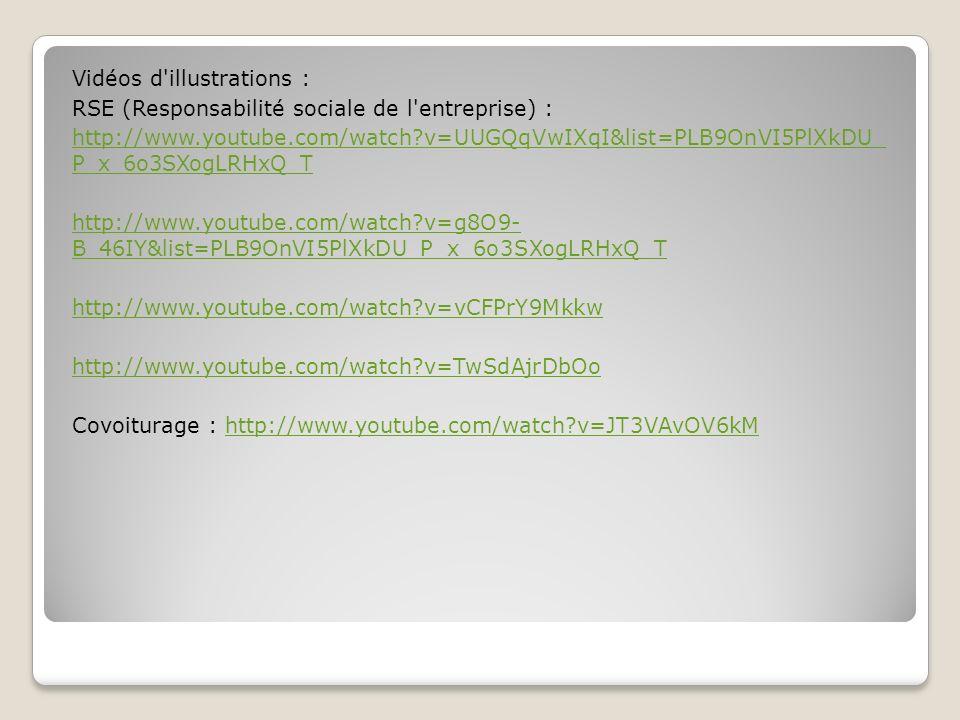 Vidéos d'illustrations : RSE (Responsabilité sociale de l'entreprise) : http://www.youtube.com/watch?v=UUGQqVwIXqI&list=PLB9OnVI5PlXkDU_ P_x_6o3SXogLR
