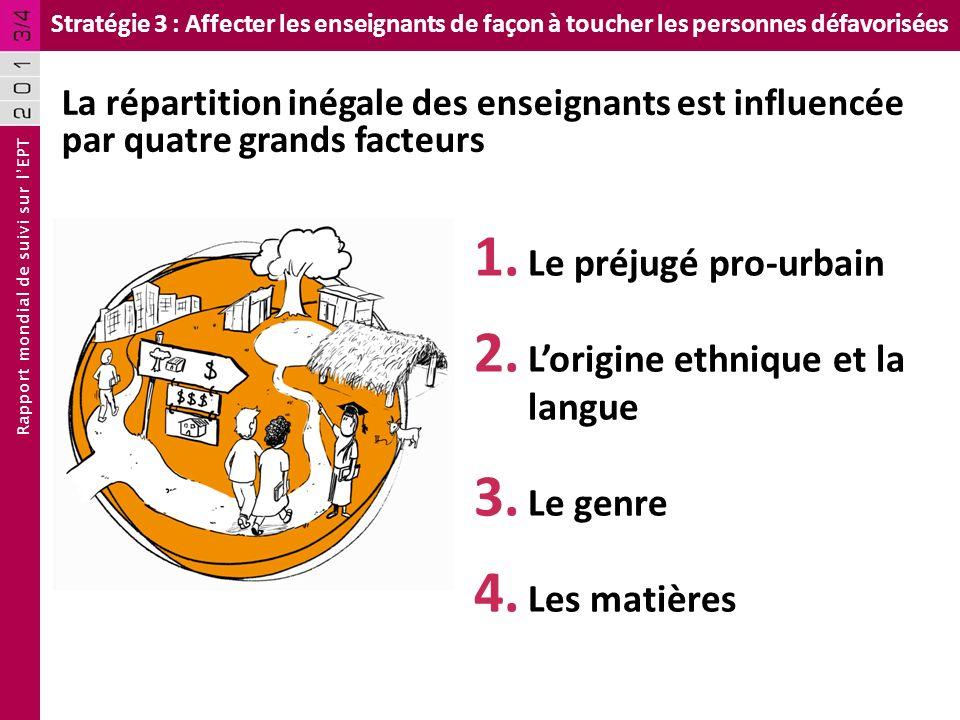 Rapport mondial de suivi sur lEPT Stratégie 3 : Affecter les enseignants de façon à toucher les personnes défavorisées 1. Le préjugé pro-urbain 2. Lor
