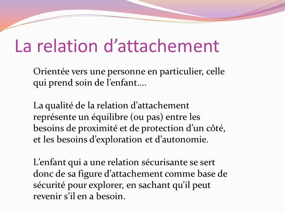 La relation dattachement Orientée vers une personne en particulier, celle qui prend soin de lenfant.... La qualité de la relation dattachement représe