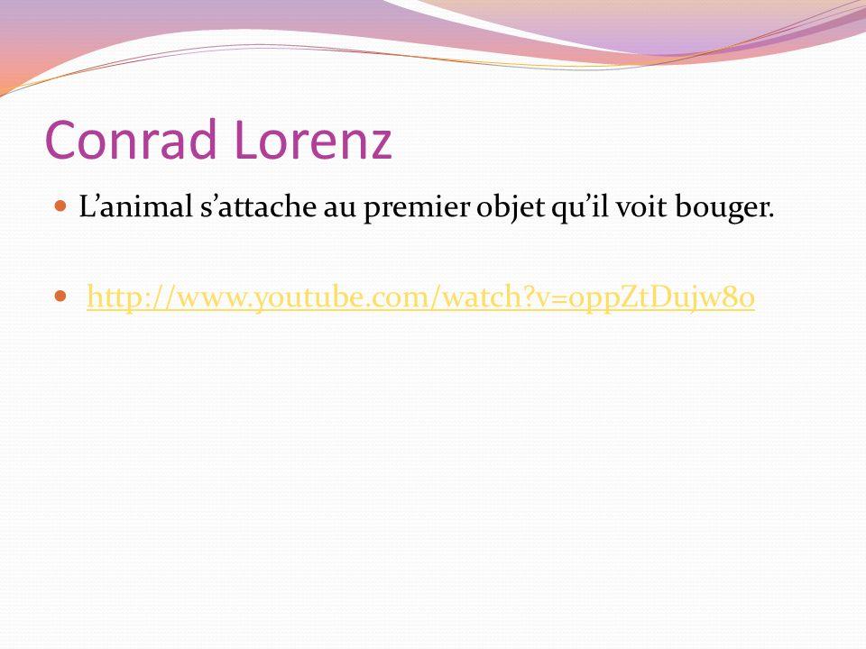 Conrad Lorenz Lanimal sattache au premier objet quil voit bouger. http://www.youtube.com/watch?v=oppZtDujw8o