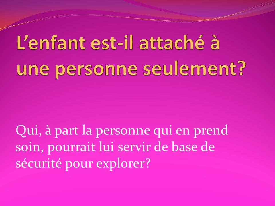 Qui, à part la personne qui en prend soin, pourrait lui servir de base de sécurité pour explorer?
