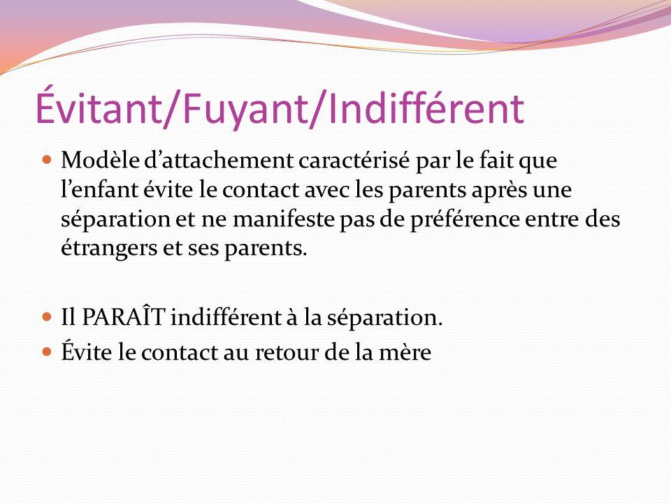 Évitant/Fuyant/Indifférent Modèle dattachement caractérisé par le fait que lenfant évite le contact avec les parents après une séparation et ne manife
