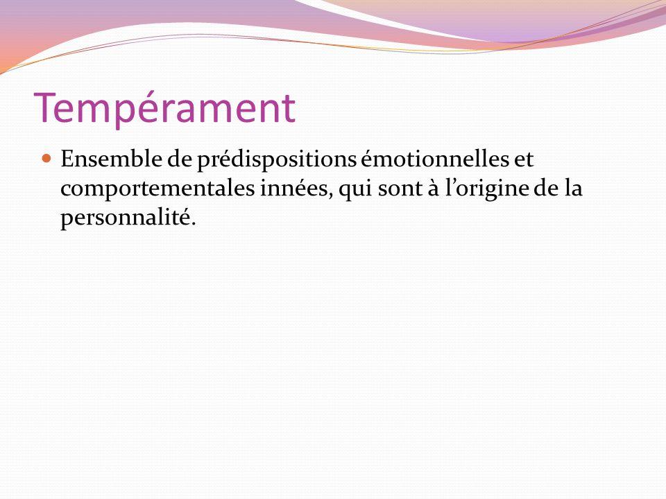 Tempérament Ensemble de prédispositions émotionnelles et comportementales innées, qui sont à lorigine de la personnalité.