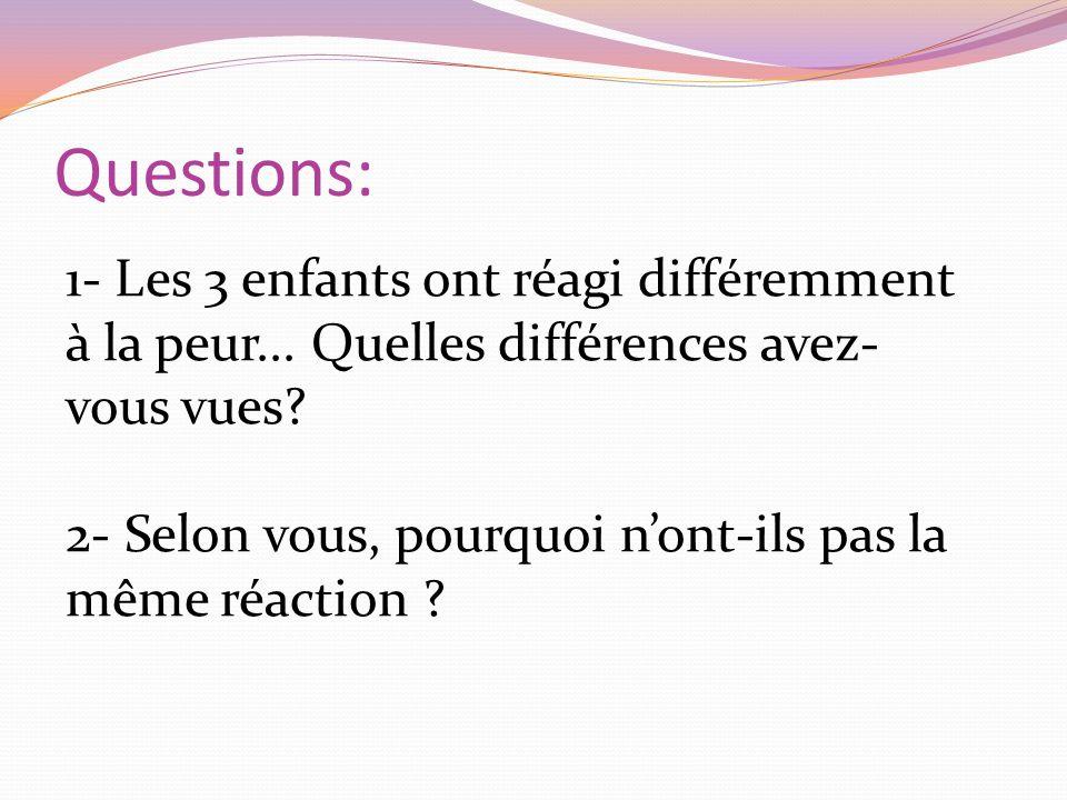 Questions: 1- Les 3 enfants ont réagi différemment à la peur... Quelles différences avez- vous vues? 2- Selon vous, pourquoi nont-ils pas la même réac