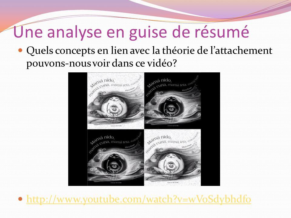 Une analyse en guise de résumé Quels concepts en lien avec la théorie de lattachement pouvons-nous voir dans ce vidéo? http://www.youtube.com/watch?v=