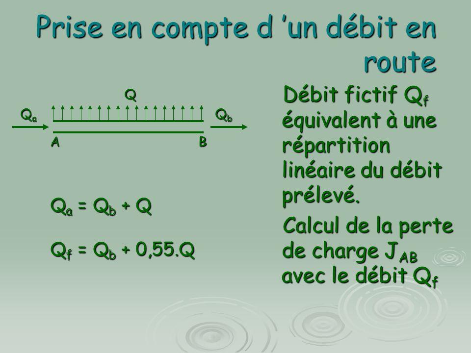 Prise en compte d un débit en route Débit fictif Q f équivalent à une répartition linéaire du débit prélevé. Débit fictif Q f équivalent à une réparti