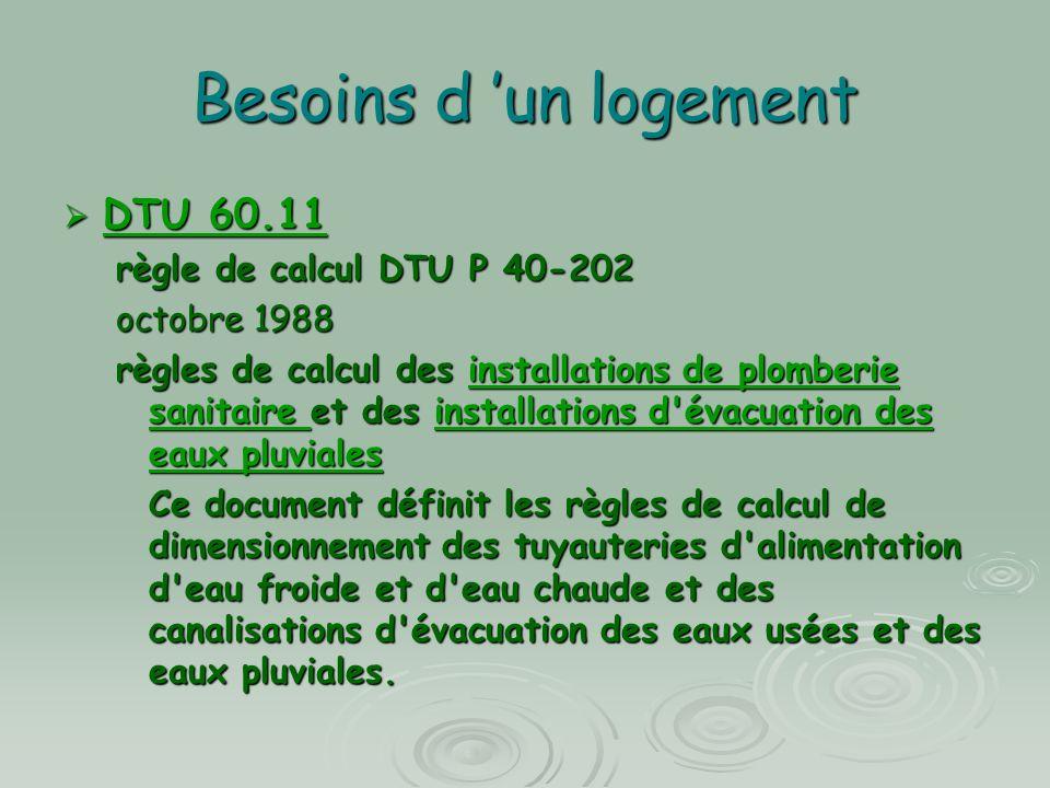 Besoins d un logement DTU 60.11 DTU 60.11 DTU 60.11 DTU 60.11 règle de calcul DTU P 40-202 octobre 1988 règles de calcul des installations de plomberi