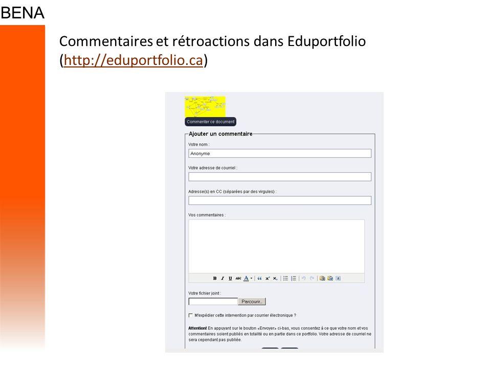 Commentaires et rétroactions dans Eduportfolio (http://eduportfolio.ca)http://eduportfolio.ca
