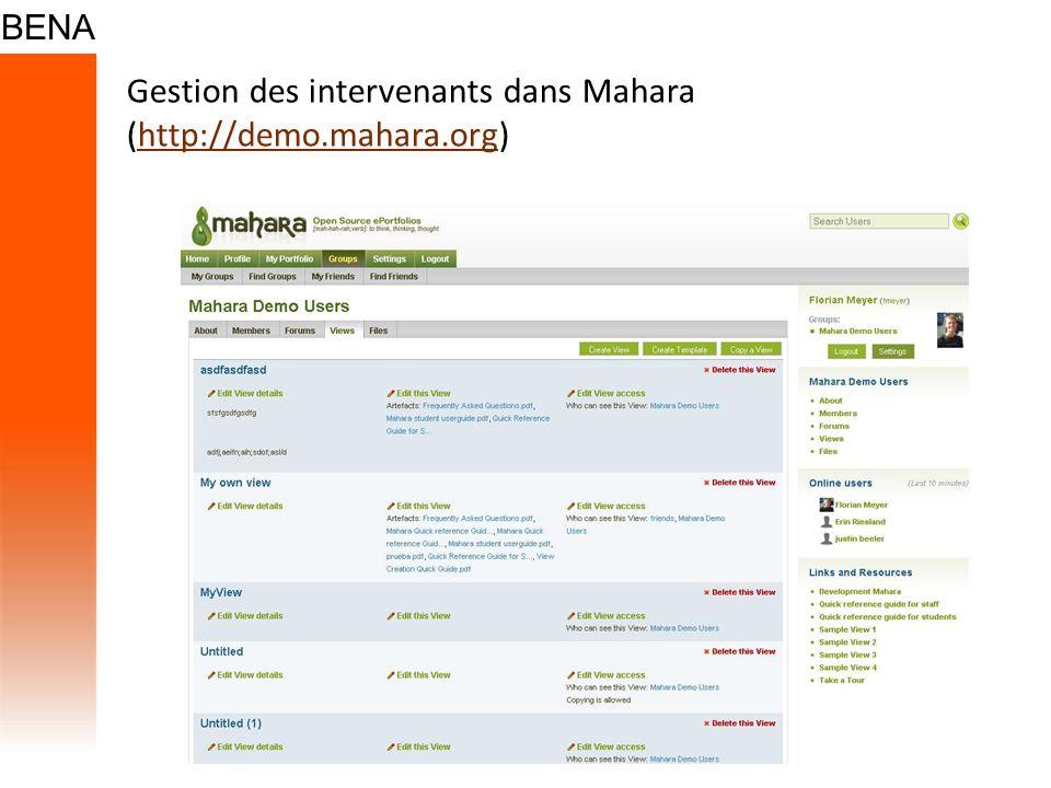 Gestion des intervenants dans Mahara (http://demo.mahara.org)http://demo.mahara.org