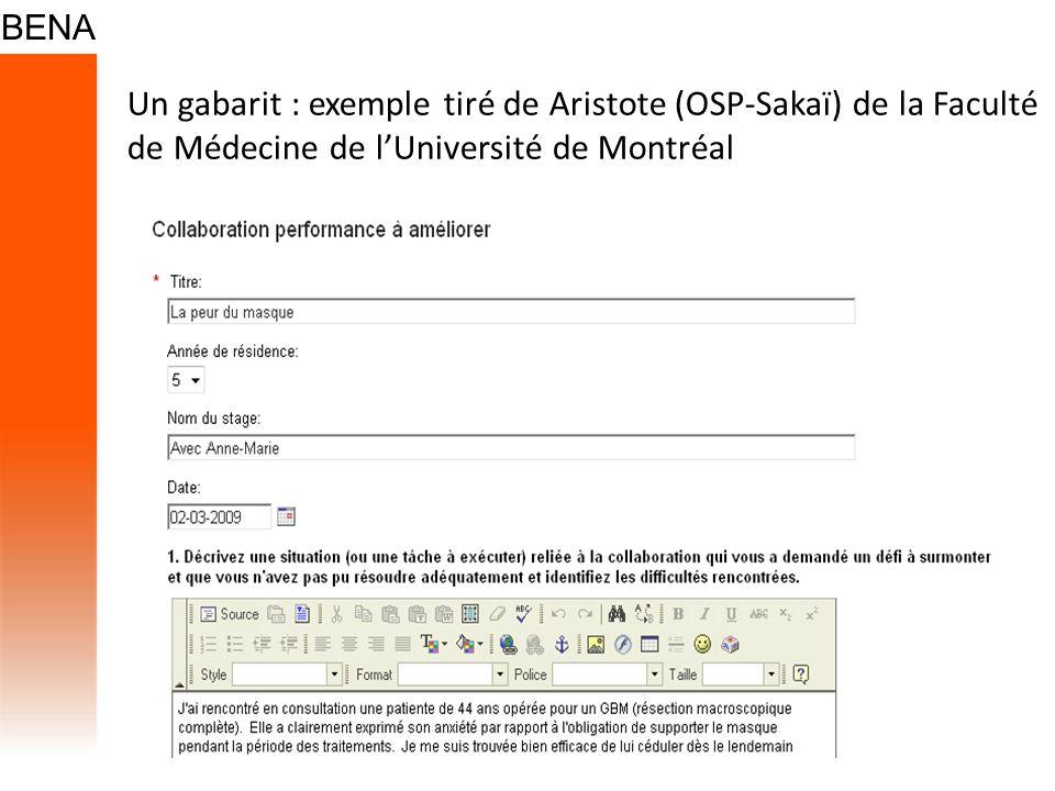 Un gabarit : exemple tiré de Aristote (OSP-Sakaï) de la Faculté de Médecine de lUniversité de Montréal