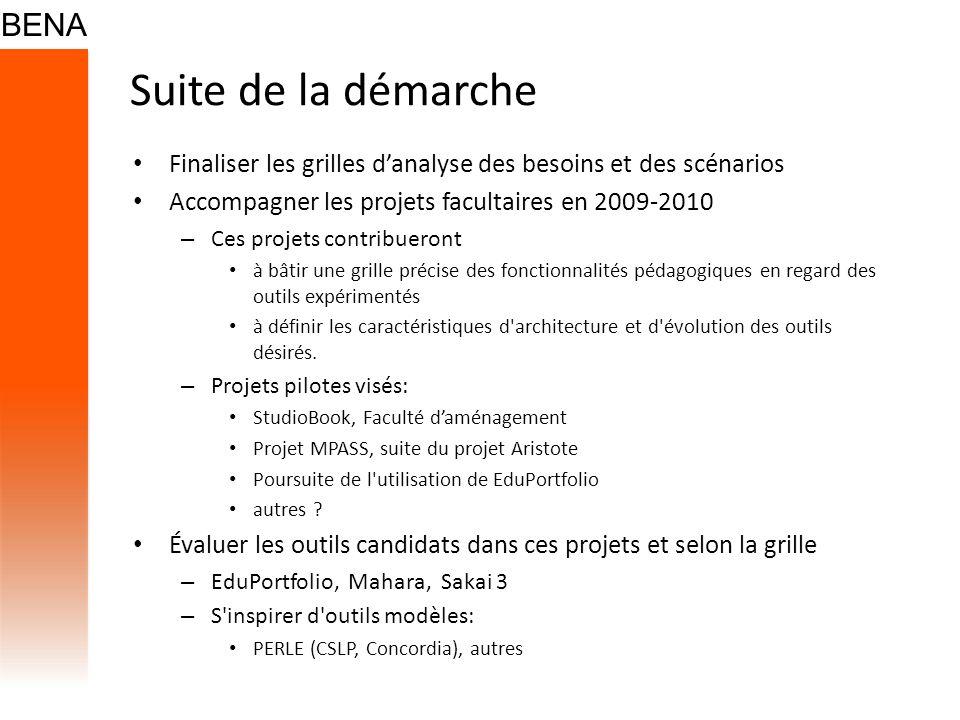 Suite de la démarche Finaliser les grilles danalyse des besoins et des scénarios Accompagner les projets facultaires en 2009-2010 – Ces projets contri