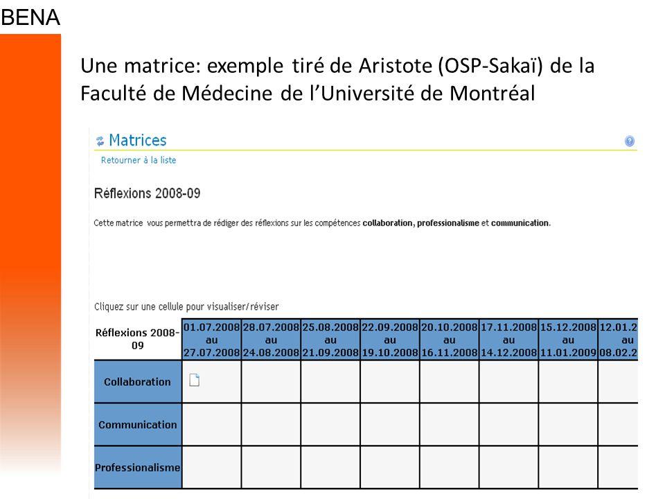 Une matrice: exemple tiré de Aristote (OSP-Sakaï) de la Faculté de Médecine de lUniversité de Montréal