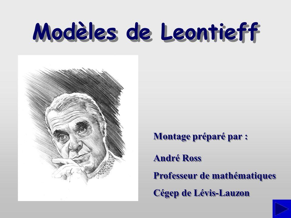 Introduction Léconomiste américain dorigine russe Wassily Leontieff a reçu, en 1973, le prix Nobel de sciences économiques pour ses travaux de modélisation mathématique des échanges interindustriels.