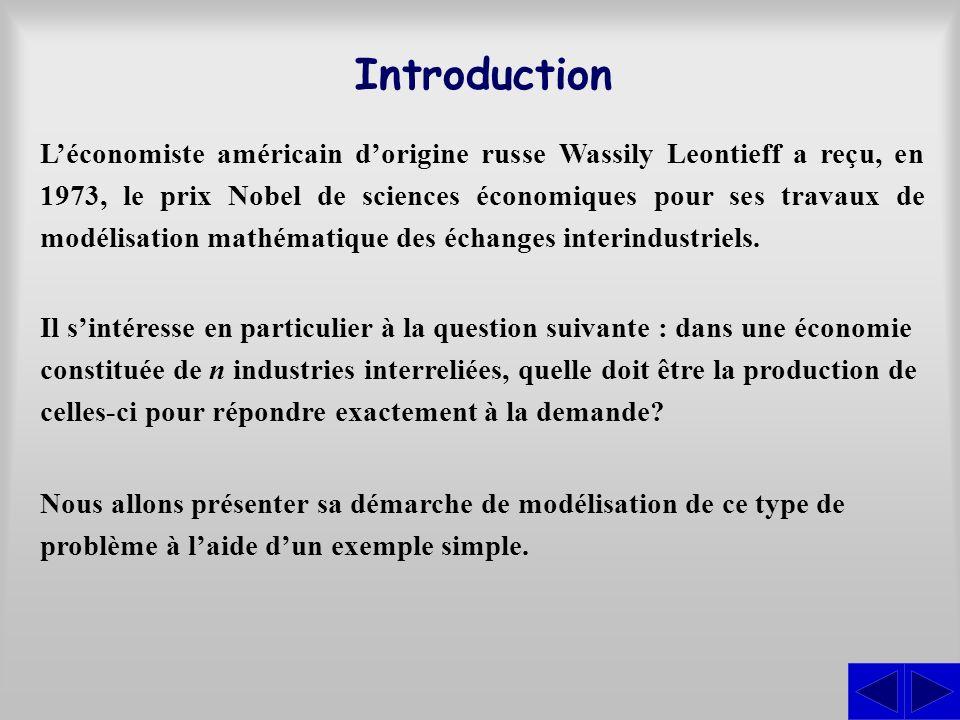Introduction Léconomiste américain dorigine russe Wassily Leontieff a reçu, en 1973, le prix Nobel de sciences économiques pour ses travaux de modélis
