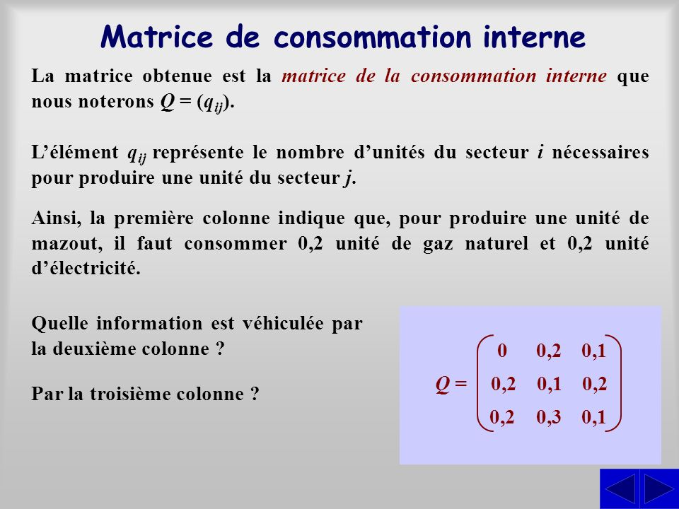 La matrice obtenue est la matrice de la consommation interne que nous noterons Q = (q ij ). Matrice de consommation interne Lélément q ij représente l