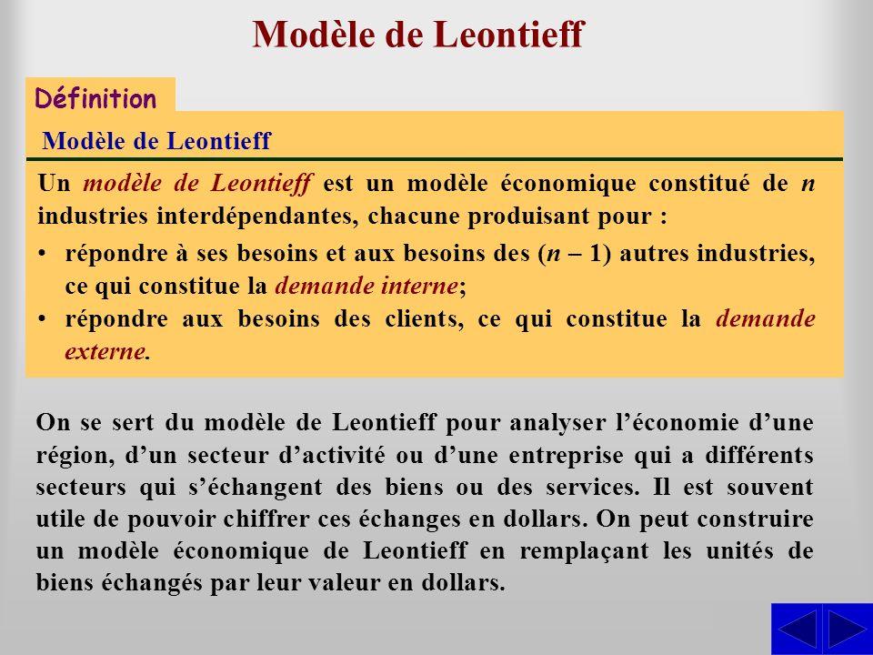 Représentation matricielle Représentation matricielle du modèle de Leontieff Dans un modèle de Leontieff, les échanges entre les industries sont décrits dans une matrice Q appelée matrice de consommation.