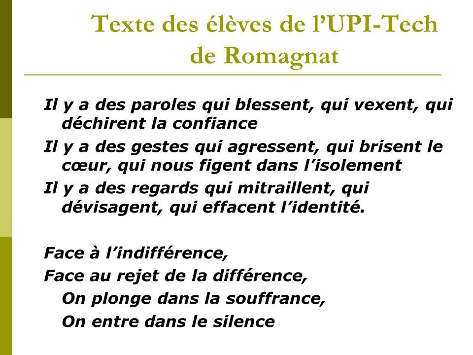 Texte des élèves de lUPI-Tech de Romagnat Il y a des paroles qui blessent, qui vexent, qui déchirent la confiance Il y a des gestes qui agressent, qui