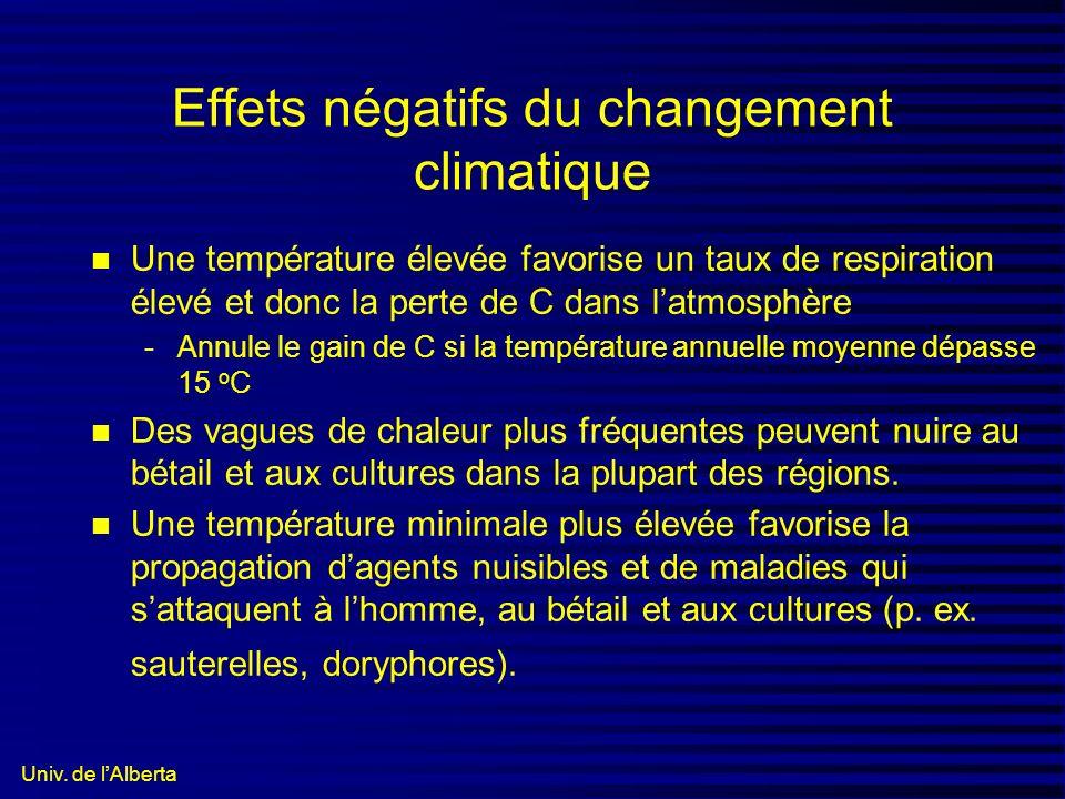 Univ. de lAlberta Effets négatifs du changement climatique n Une température élevée favorise un taux de respiration élevé et donc la perte de C dans l