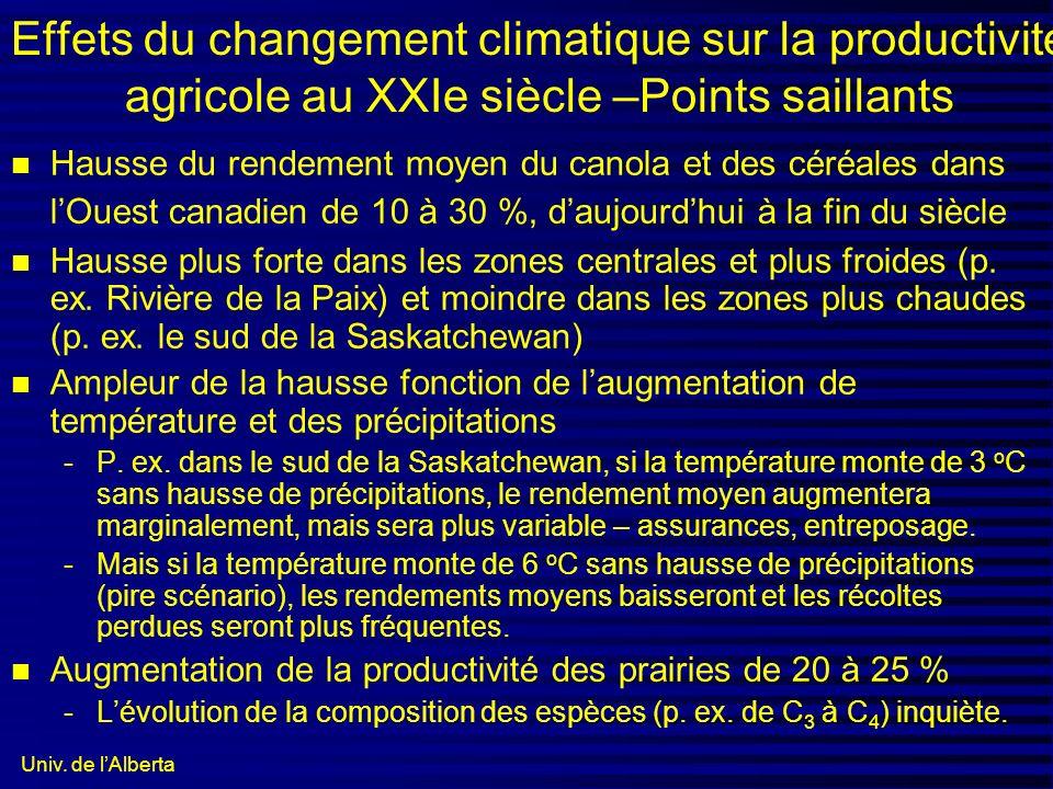 Univ. de lAlberta Effets du changement climatique sur la productivité agricole au XXIe siècle –Points saillants n Hausse du rendement moyen du canola