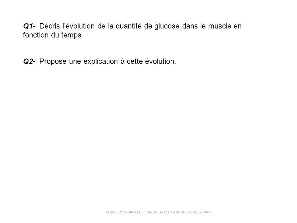 Q1- Décris lévolution de la quantité de glucose dans le muscle en fonction du temps Q2- Propose une explication à cette évolution.