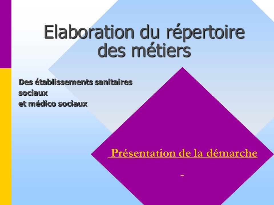 Elaboration du répertoire des métiers Présentation de la démarche Des établissements sanitaires Des établissements sanitaires sociaux sociaux et médico sociaux et médico sociaux