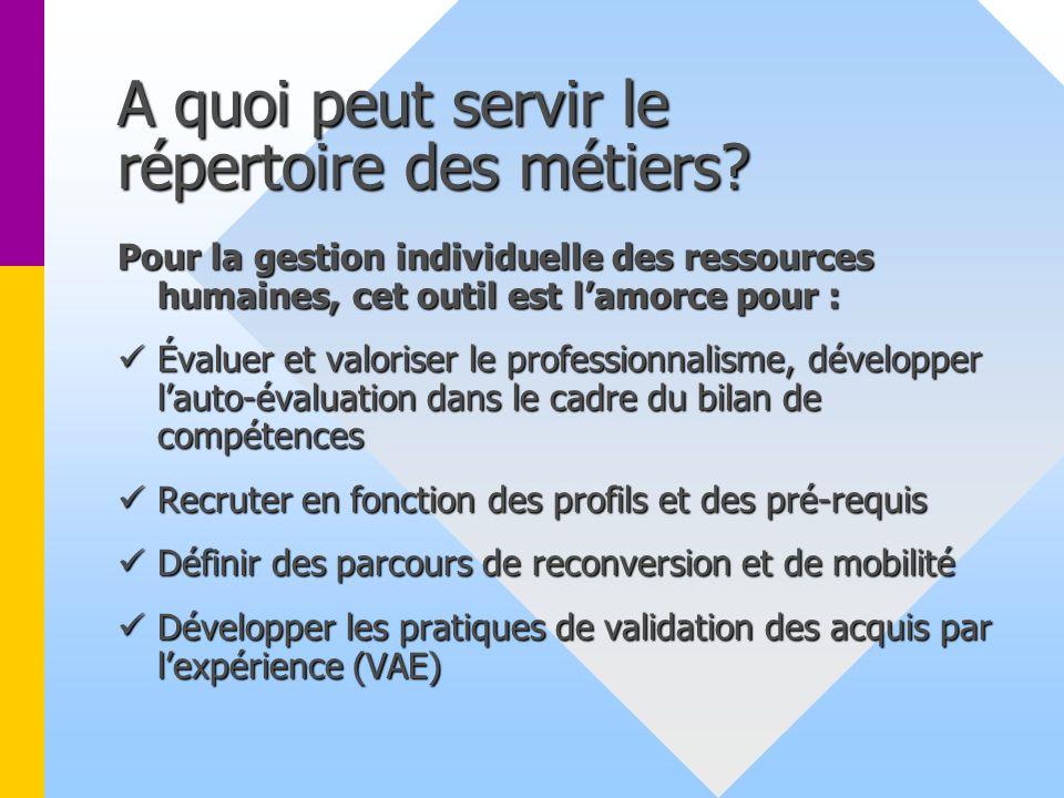 A quoi peut servir le répertoire des métiers? Pour la gestion collective des ressources humaines : Qualifier les besoins en effectifs et en formation