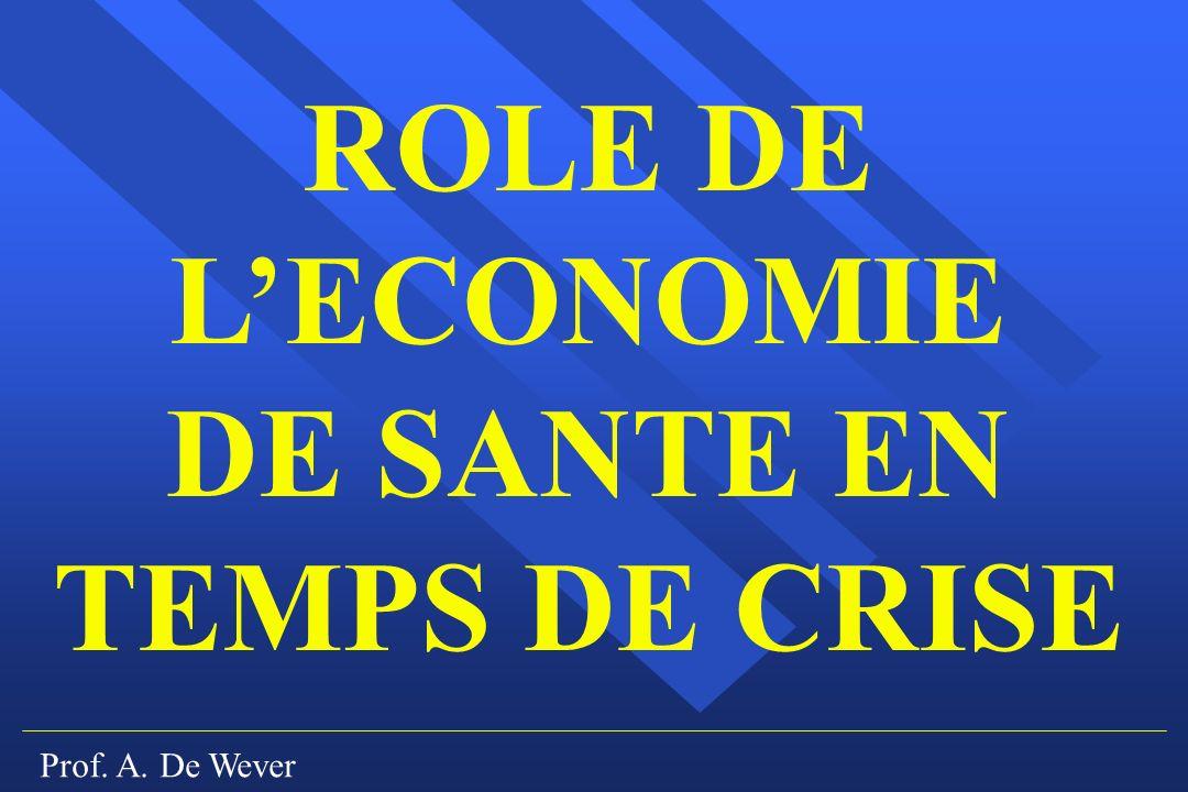 Prof. A. De Wever ROLE DE LECONOMIE DE SANTE EN TEMPS DE CRISE