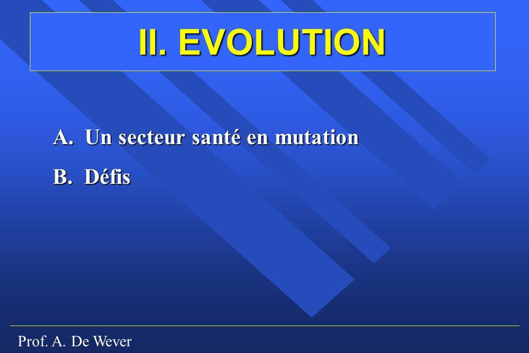 Prof. A. De Wever II. EVOLUTION A. Un secteur santé en mutation B. Défis