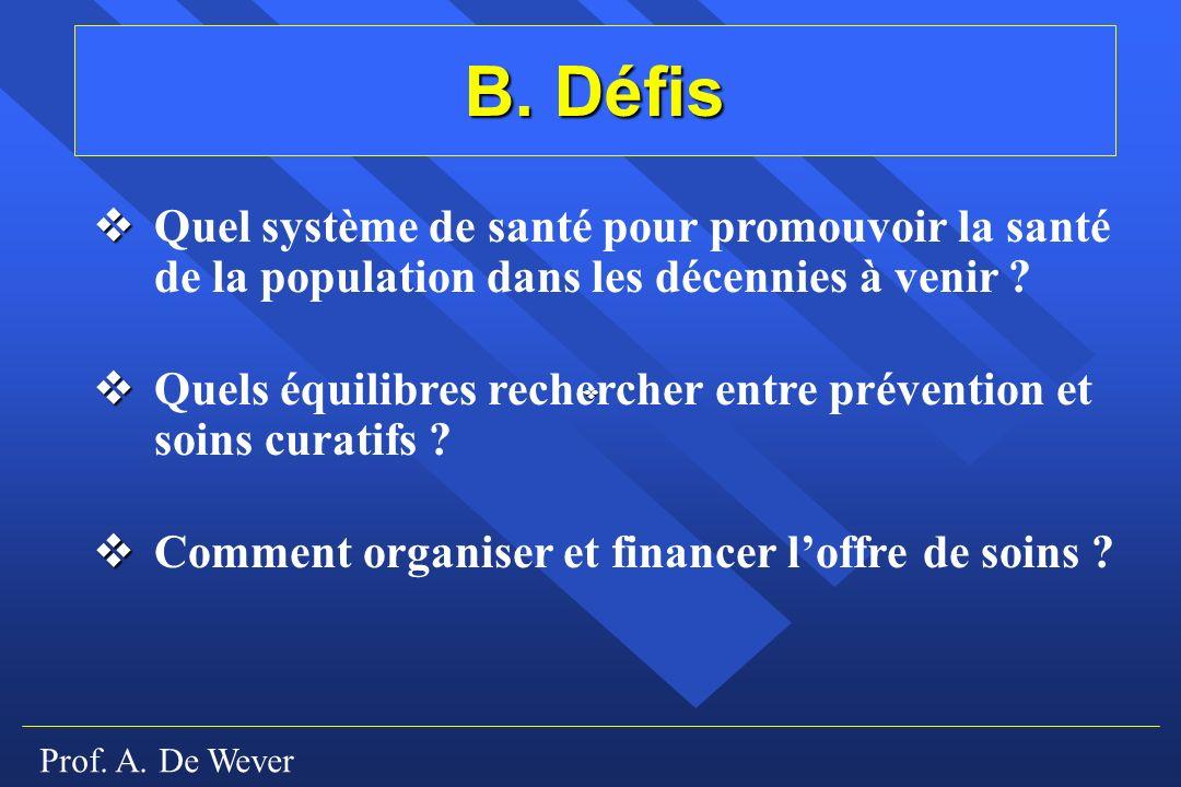 Prof. A. De Wever B. Défis Quel système de santé pour promouvoir la santé de la population dans les décennies à venir ? Quels équilibres rechercher en