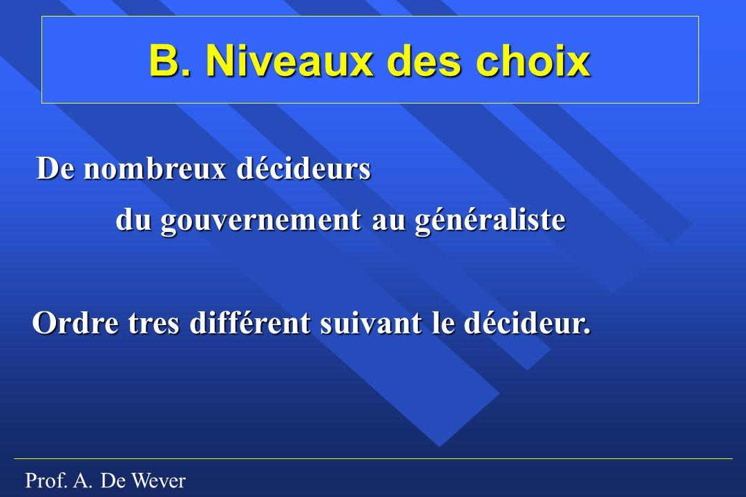 Prof. A. De Wever B. Niveaux des choix De nombreux décideurs du gouvernement au généraliste Ordre tres différent suivant le décideur.