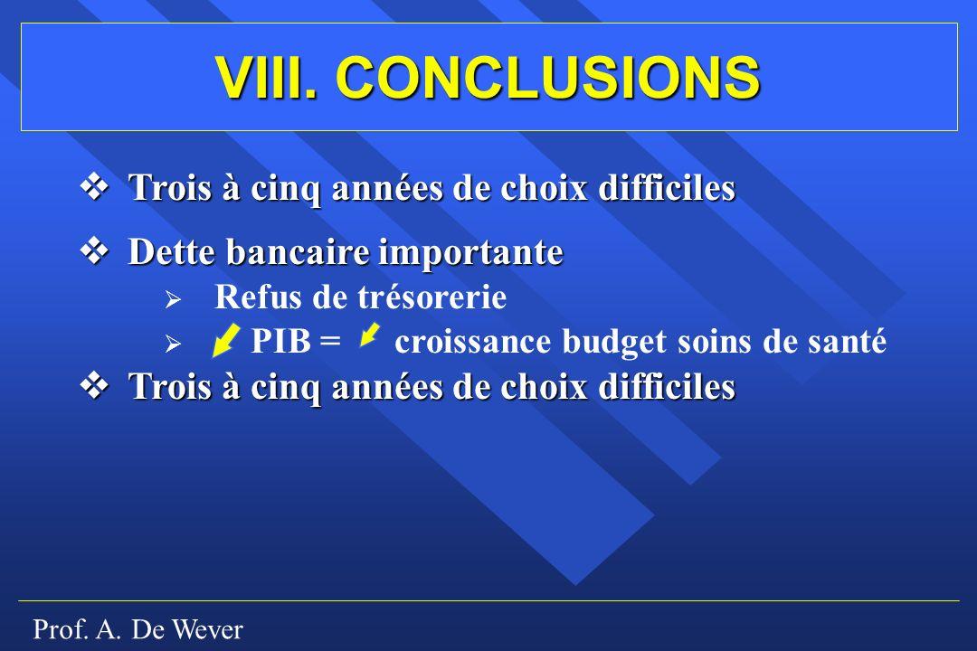 Prof. A. De Wever VIII. CONCLUSIONS Trois à cinq années de choix difficiles Trois à cinq années de choix difficiles Dette bancaire importante Dette ba