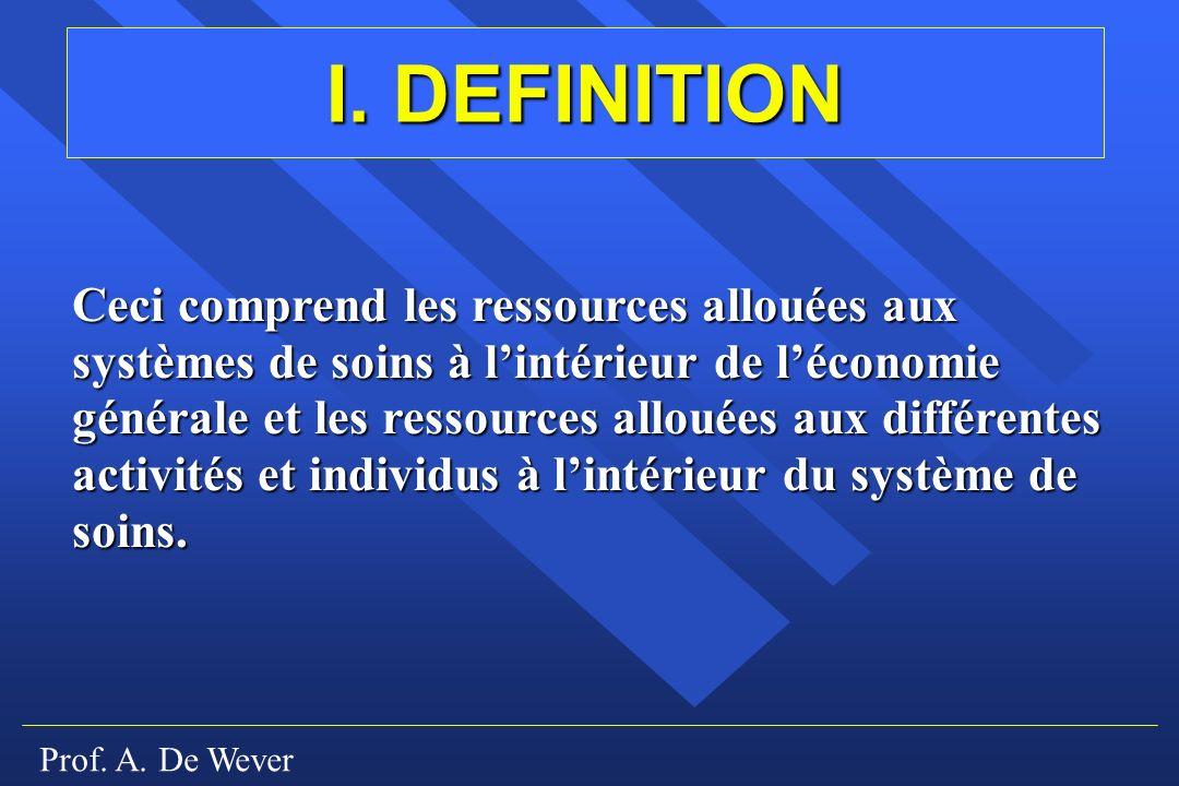 Prof. A. De Wever I. DEFINITION Ceci comprend les ressources allouées aux systèmes de soins à lintérieur de léconomie générale et les ressources allou