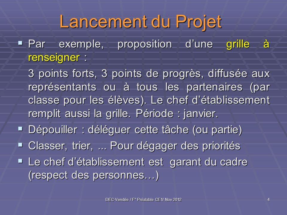 DEC-Vendée / F° Préalable CE1/ Nov 20124 Lancement du Projet Par exemple, proposition dune grille à renseigner : Par exemple, proposition dune grille à renseigner : 3 points forts, 3 points de progrès, diffusée aux représentants ou à tous les partenaires (par classe pour les élèves).