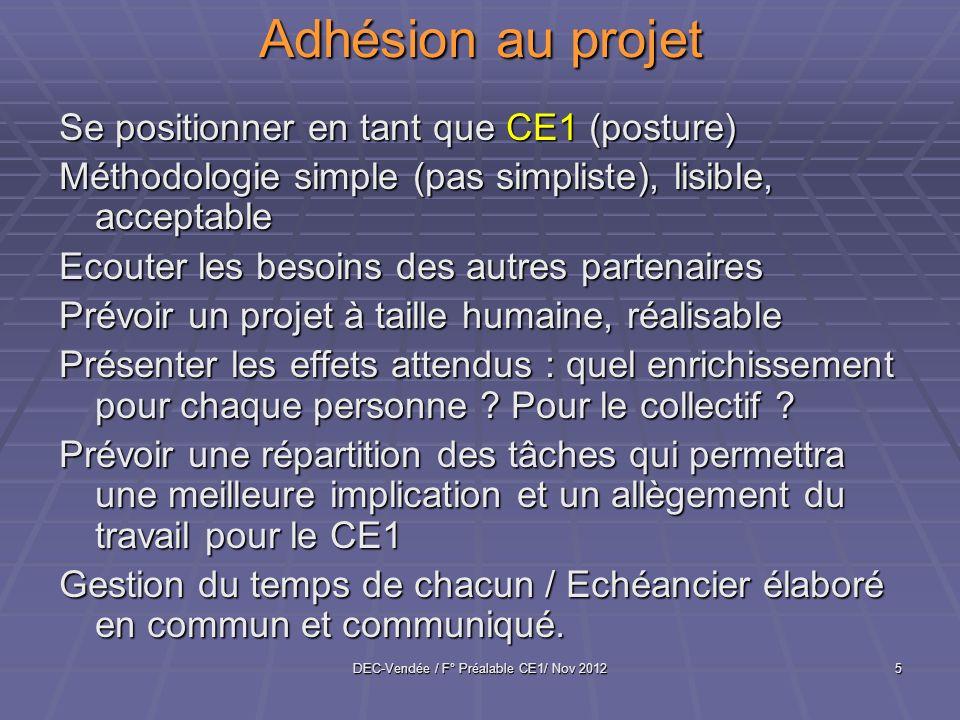 DEC-Vendée / F° Préalable CE1/ Nov 20125 Adhésion au projet Se positionner en tant que CE1 (posture) Méthodologie simple (pas simpliste), lisible, acc