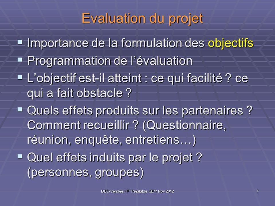 DEC-Vendée / F° Préalable CE1/ Nov 20127 Evaluation du projet Importance de la formulation des objectifs Importance de la formulation des objectifs Pr