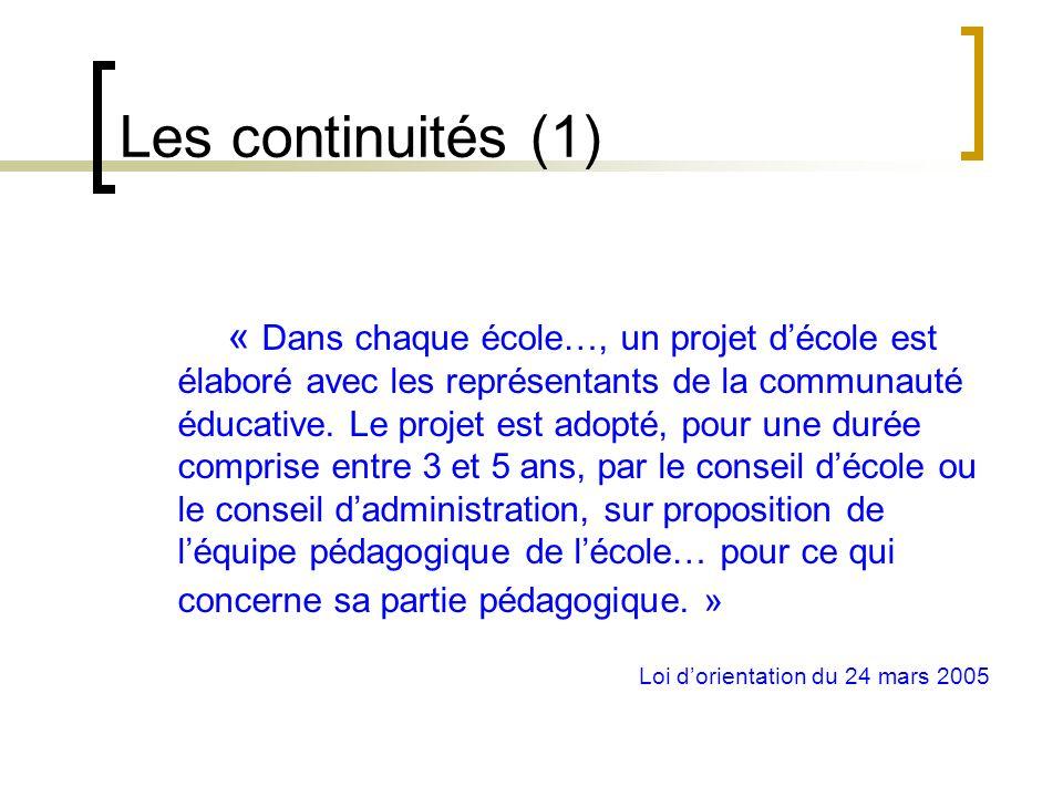 une nouvelle loi dorientation le 24 mars 2005 des continuités… … et des évolutions Le cadre institutionnel