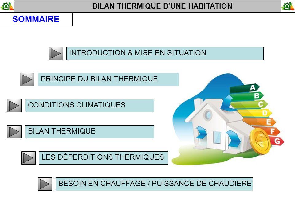 BILAN THERMIQUE DUNE HABITATION SOMMAIRE INTRODUCTION & MISE EN SITUATION PRINCIPE DU BILAN THERMIQUE CONDITIONS CLIMATIQUES BILAN THERMIQUE LES DÉPERDITIONS THERMIQUES BESOIN EN CHAUFFAGE / PUISSANCE DE CHAUDIERE