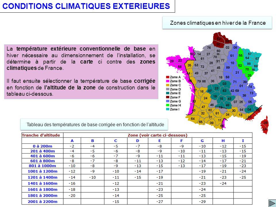 CONDITIONS CLIMATIQUES EXTERIEURES Zones climatiques en hiver de la France La température extérieure conventionnelle de base en hiver nécessaire au dimensionnement de linstallation, se détermine à partir de la carte ci contre des zones climatiques de France.