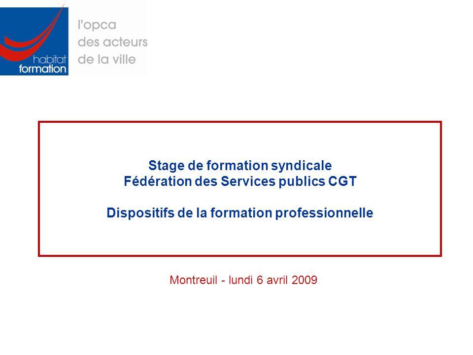 Stage de formation syndicale Fédération des Services publics CGT Dispositifs de la formation professionnelle Montreuil - lundi 6 avril 2009