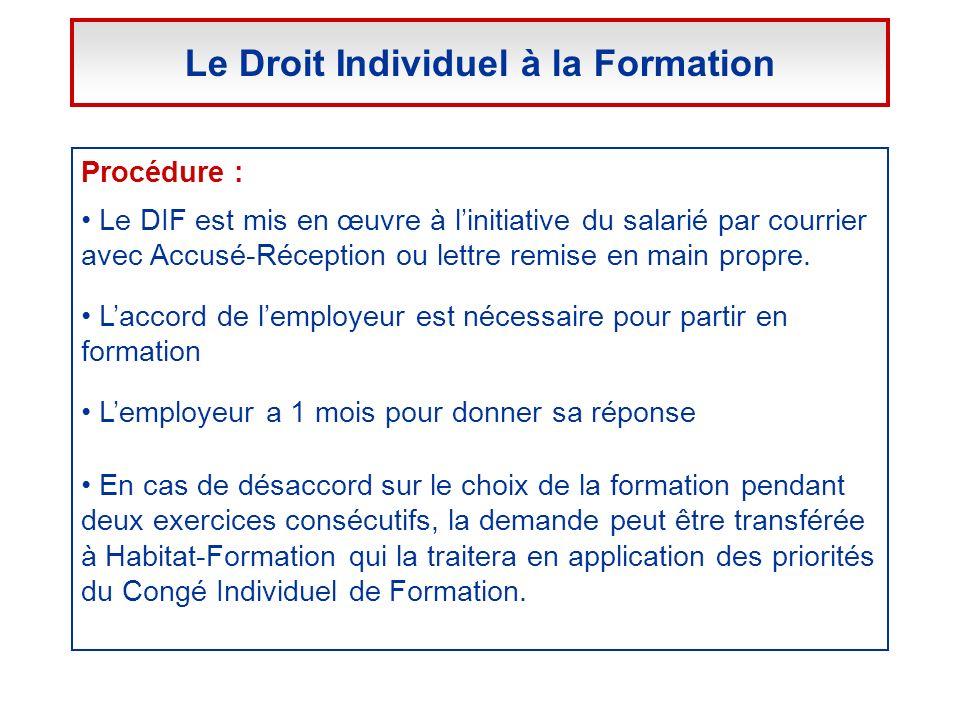 Procédure : Le DIF est mis en œuvre à linitiative du salarié par courrier avec Accusé-Réception ou lettre remise en main propre. Laccord de lemployeur