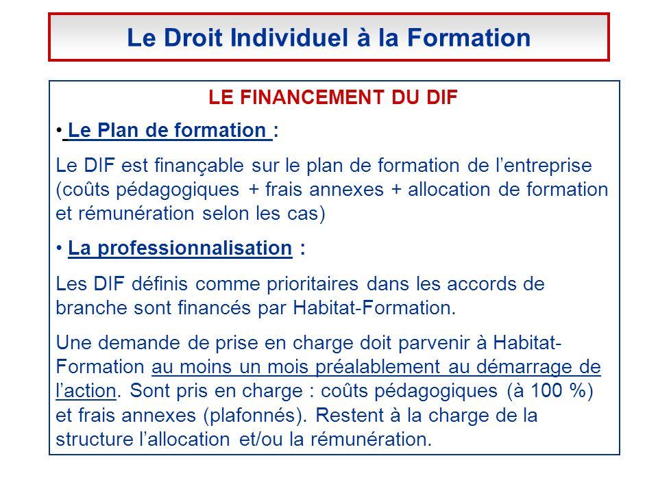 LE FINANCEMENT DU DIF Le Plan de formation : Le DIF est finançable sur le plan de formation de lentreprise (coûts pédagogiques + frais annexes + alloc