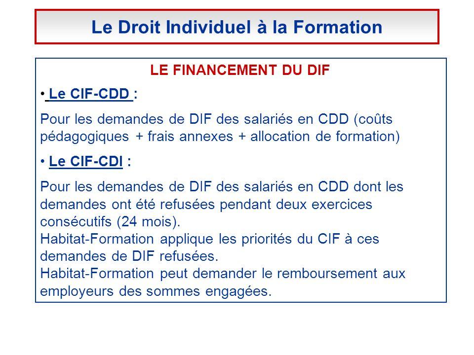 LE FINANCEMENT DU DIF Le CIF-CDD : Pour les demandes de DIF des salariés en CDD (coûts pédagogiques + frais annexes + allocation de formation) Le CIF-