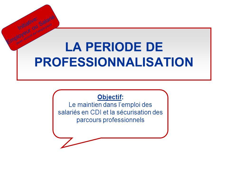 LA PERIODE DE PROFESSIONNALISATION Initiative: Employeur ou Salarié (avec accord de lemployeur) Objectif: Le maintien dans lemploi des salariés en CDI