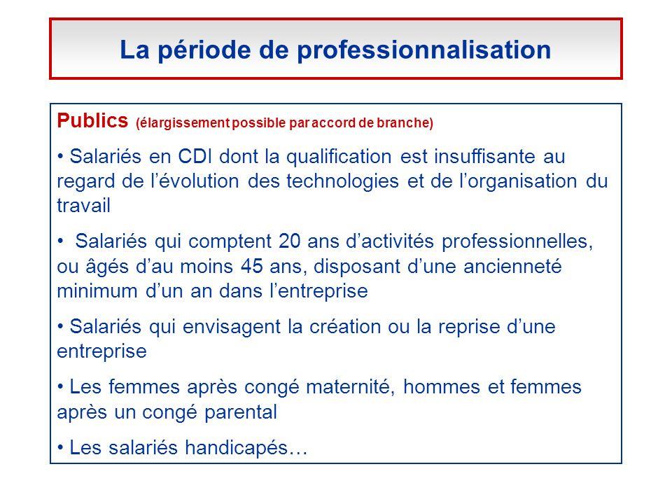 Publics (élargissement possible par accord de branche) Salariés en CDI dont la qualification est insuffisante au regard de lévolution des technologies